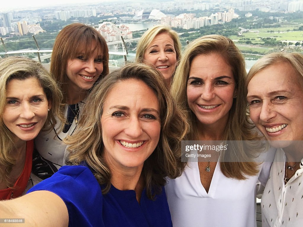 Legend Ambassadors (L-R) Monica Seles of the United States, Iva Majoli of Croatia, Mary Pierce of France, Chris Evert of the United States, Arantxa Sanchez Vicario of Spain and Martina Navratilova of the United States pose for a selfie during day 5 of the BNP Paribas WTA Finals Singapore at Marina Bay Sands on October 27, 2016 in Singapore.