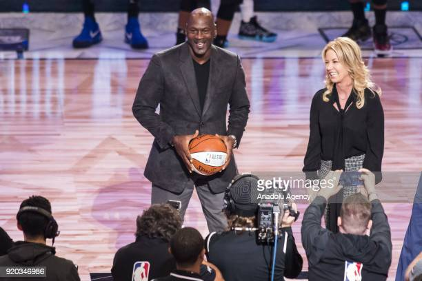 NBA legend and Charlotte Hornets owner Michael Jordan is on stage during the unveiling of the 2019 NBA AllStar game logo and city being hosted in...