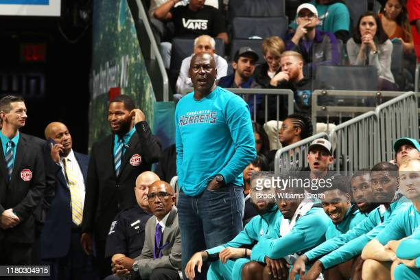 Legend and Charlotte Hornets Owner, Michael Jordan looks on during a game between the Indiana Pacers and the Charlotte Hornets on November 5, 2019 at...