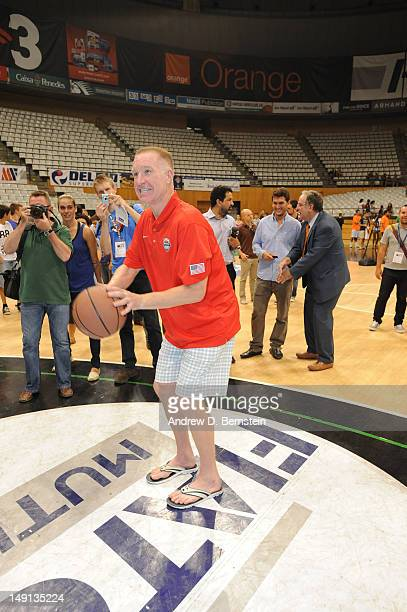 Legend and former 1992 Dream Team member Chris Mullin handles a basketball at the arena in Badalona Spain where the games were held at the 1992...
