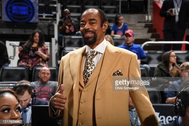 Legend and Knicks commentator Walt Frazier poses for a photo during the game on February 08, 2020 at Little Caesars Arena in Detroit, Michigan. NOTE...