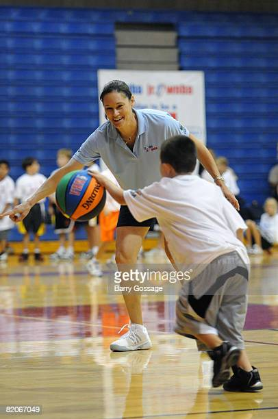 Legend and Olympian Jennifer Azzi participates in the Jr NBA/Jr WNBA basketball camp on July 24 2008 at the Centennial High School campus in Peoria...