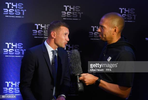 Legend Andriy Shevchenko is interviewed by Stan Collymore during The Best FIFA Football Awards 2017 press conference at The Bloomsbury Ballroom on...