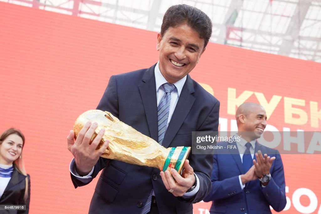 Legend Bebeto holds a Trophy during FIFA World Cup Trophy Tour at Luzhniki stadium on September 9, 2017 in Moscow, Russia.
