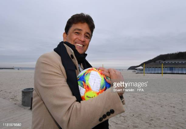 Legend Bebeto of Brazil holds the official FIFA U20 World Cup match ball on the beach prior to the official draw on February 23 2019 in Gdynia Poland