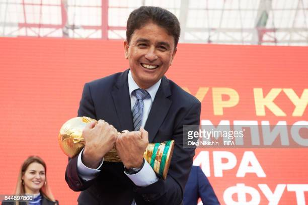 Legend Bebeto with the trophy during FIFA World Cup Trophy Tour at Luzhniki stadium on September 9 2017 in Moscow Russia