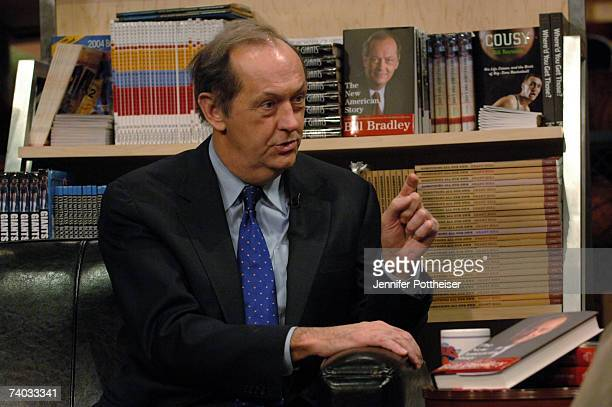 Legend Bill Bradley discusses his new book The New American Story with Roy S Johnson during a taping of NBATV's show Books and Basketball at the NBA...