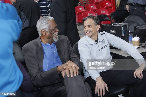 NBA legend Bill Russell and Sacramento Kings Owner Vivek Ranadivé greet each other before the Dallas Mavericks game against the Sacramento Kings on...