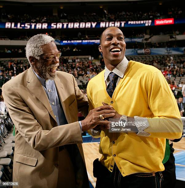 Legend Bill Russell shares a laugh with All-Star Dwight Howard on All-Star Saturday Night as part of the 2010 NBA All-Star Weekend at the American...