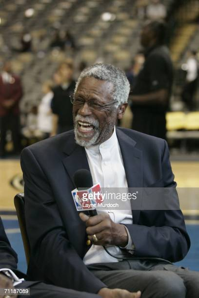 Legend Bill Russell speaks to NBATV prior to Game One of the 2006 NBA Finals between the Miami Heat and the Dallas Mavericks on June 8 2006 at the...