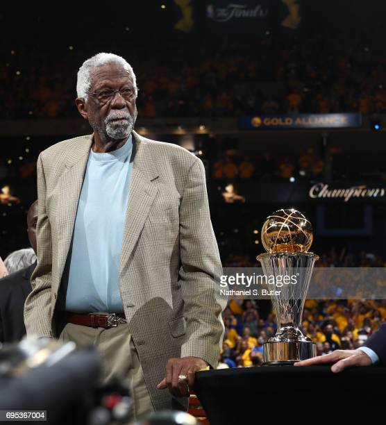 Legend Bill Russell walks on stage after Game Five of the 2017 NBA Finals between the Cleveland Cavaliers and the Golden State Warriors on June 12...