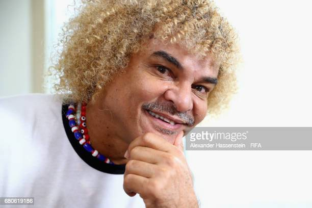 Legend Carlos Valderrama of Columbia poses after a interview at The Diplomat Radisson BLU Hotel on May 9 2017 in Manama Bahrain