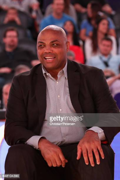 NBA legend Charles Barkley during half time of the NBA game between the Oklahoma City Thunder and the Phoenix Suns at Talking Stick Resort Arena on...