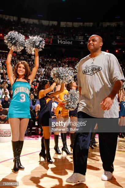 NBA legend Charles Barkley is introduced to the fans prior to competing against NBA referee Dick Bavetta in a Foot Race during AllStar Saturday Night...