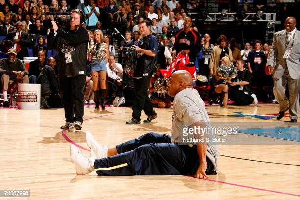Legend Charles Barkley is seen on the court after he beat NBA referee Dick Bavetta in a Foot Race during AllStar Saturday Night during the NBA...