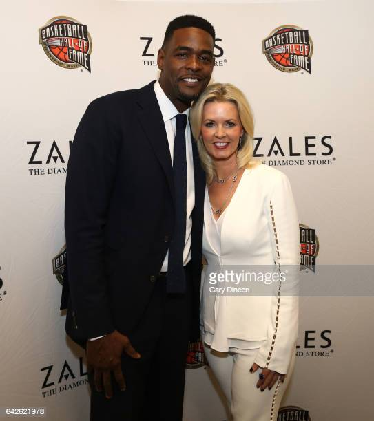 Legend Chris Webber and Stacy Sager pose for a photo during the Hall of Fame Press Conference as part of 2017 AllStar Weekend at the Smoothie King...