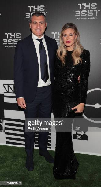 Legend Christian Vieri and Costanza Caracciolo attend the green carpet prior to The Best FIFA Football Awards 2019 at the Teatro alla Scala on...