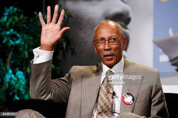 Legend Dave Bing greets the crowd during the Martin Luther King Jr Day Sports Legacy Symposium presented by the Hyde Family Foundation on January 19...