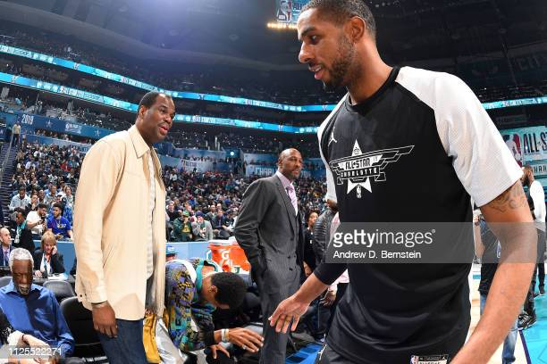 NBA legend David Robinson and LaMarcus Aldridge of Team LeBron talk before the 2019 NBA AllStar Game on February 17 2019 at the Spectrum Center in...