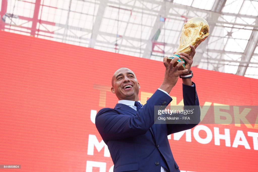 Legend David Trezeguet holds the trophy during FIFA World Cup Trophy Tour at Luzhniki stadium on September 9, 2017 in Moscow, Russia.