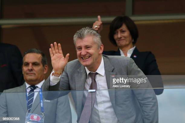Legend Davor Suker waves to fans during the 2018 FIFA World Cup Russia Round of 16 match between Croatia and Denmark at Nizhny Novgorod Stadium on...