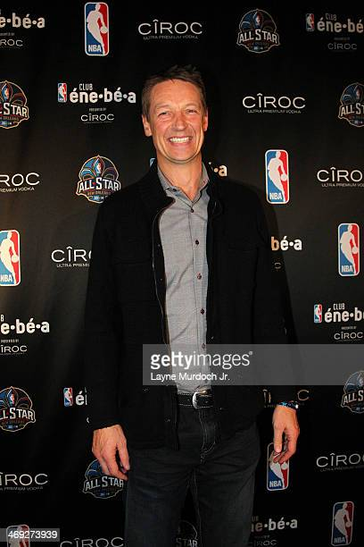 Legend Detlef Schremph poses for a photo on the blue carpet at the Club éne•bé•a presented by CÎROC as part of the 2014 NBA AllStar Weekend on...