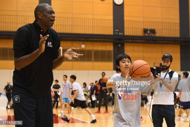 Legend Dikembe Mutombo during the NBA Cares Special Olympics Unified Clinic part of the 2019 NBA Japan Games at a training facility on October 7 2019...