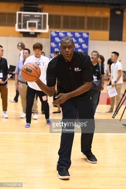Legend Dikembe Mutombo of the Toronto Raptors during the NBA Cares Special Olympics Unified Clinic part of the 2019 NBA Japan Games at a training...