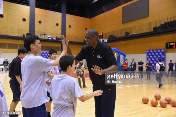 Legend Dikembe Mutombo participates during the NBA Cares Special Olympics Unified Clinic part of the 2019 NBA Japan Games at a training facility on...