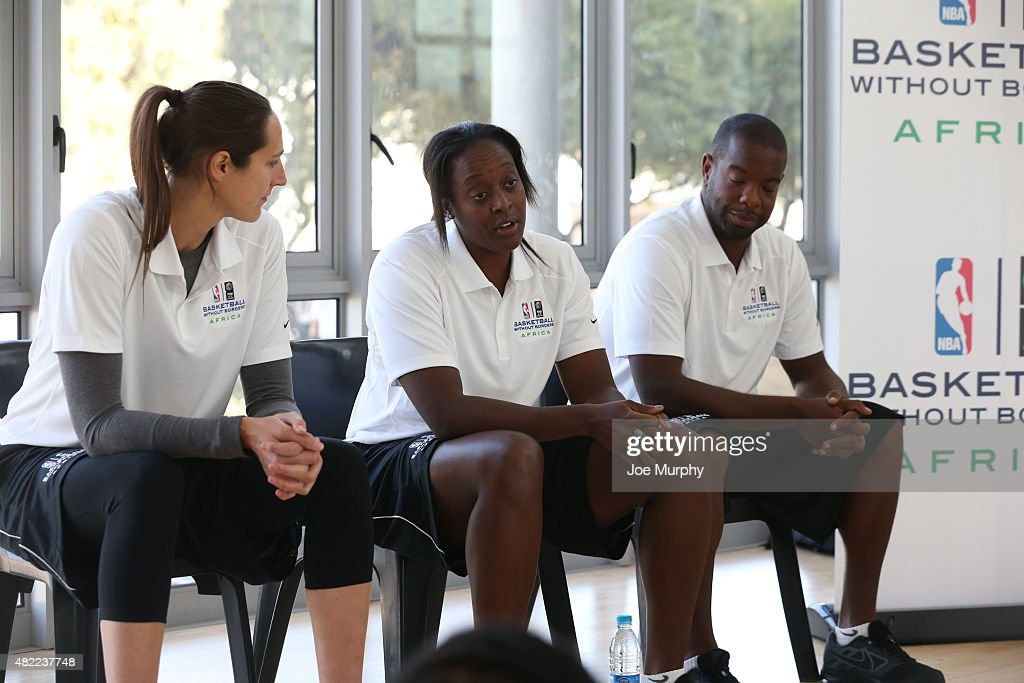 Legend Ebony Hoffman speaks to the campers during the Girls Life Skills Session during the Basketball Without Boarders program on July 28, 2015 at the American International School of Johannesburg in Johannesburg, South Africa.