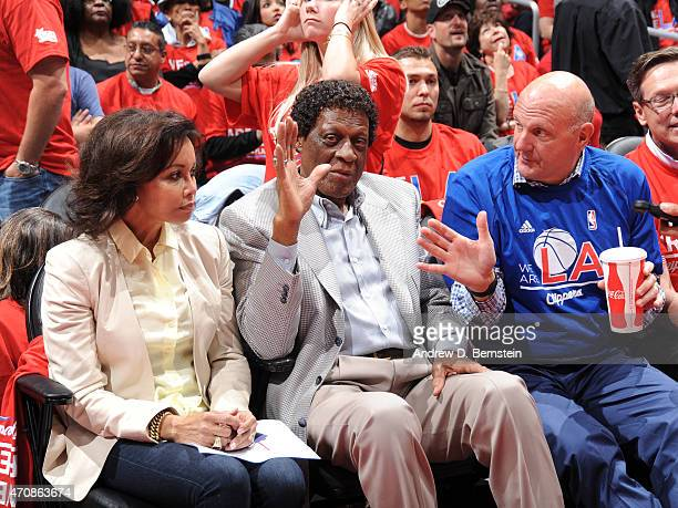 Legend Elgin Baylor and Owner of the Los Angeles Clipeprs Steve Ballmer attend the game between the San Antonio Spurs and Los Angeles Clippers in...