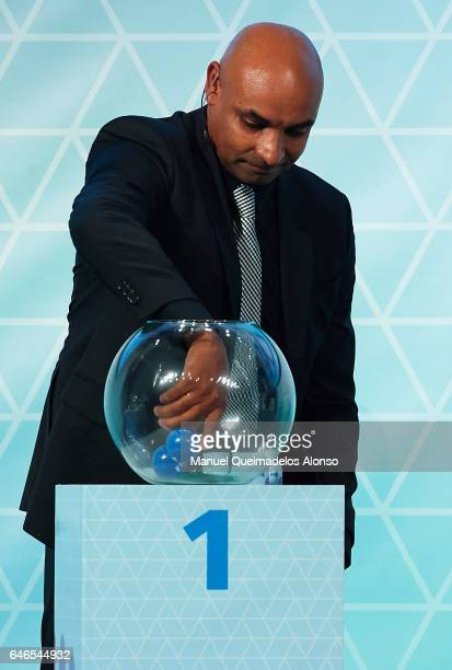 Legend Emerson Ferreira draws a team out of the pot during the Official Draw FIFA Beach Soccer World Cup Bahamas 2017 at Atlantis Hotel Theatre on...