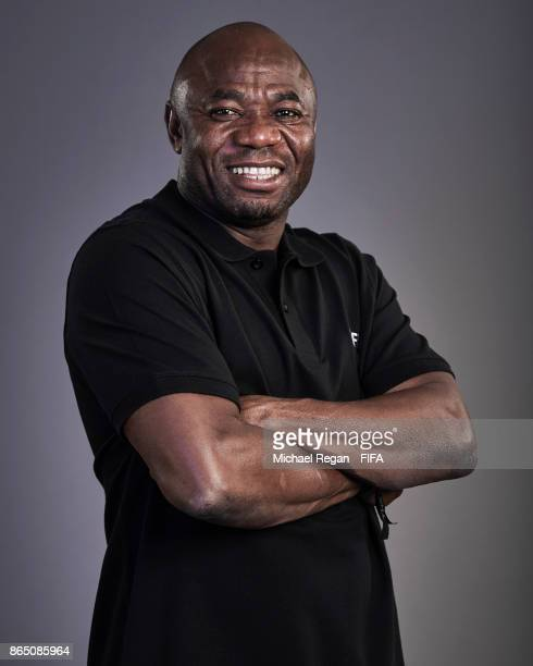 Legend, Emmanuel Amuneke poses prior to The Best FIFA Football Awards at The May Fair Hotel on October 22, 2017 in London, England.