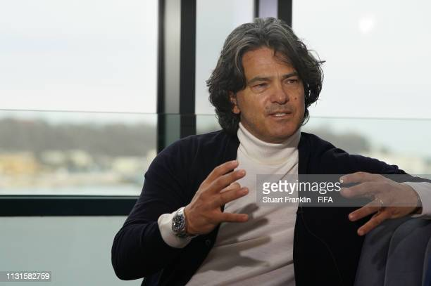 Legend Fernando Couto of Portugal talks during an interview prior to the official draw on February 23 2019 in Gdynia Poland