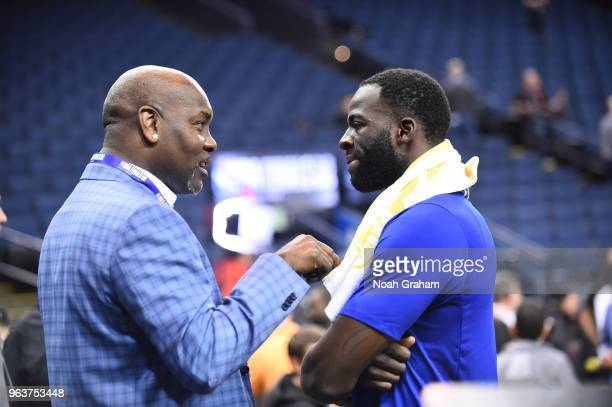 Legend Gary Payton chats with Draymond Green of the Golden State Warriors during practice as part of the 2018 NBA Finals on MAY 30 2018 at ORACLE...