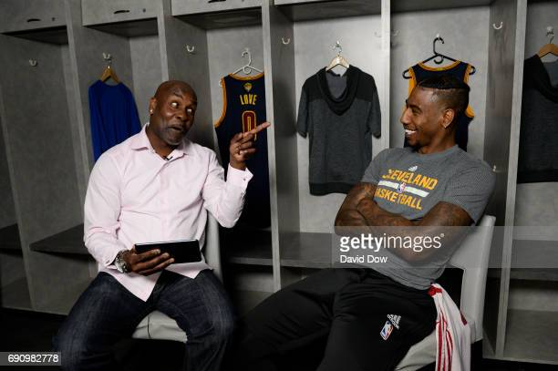Legend Gary Payton interviews Iman Shumpert of the Cleveland Cavaliers during a Facebook Live at practice and media availability as part of the 2017...