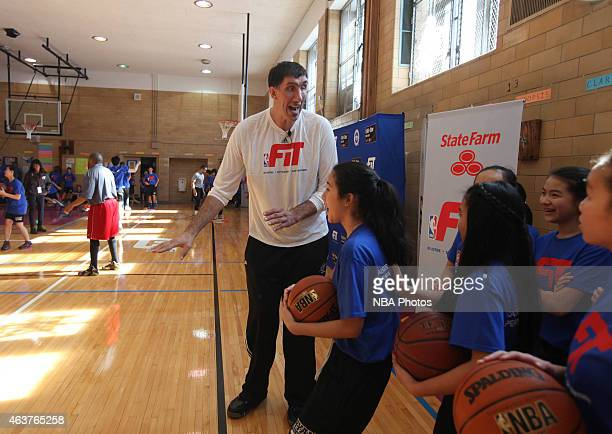 Legend Gheorge Muresan participates in NBA Cares/FIT Day of Service at J.H.S. 216 George J. Ryan school during the 2015 NBA All-Star on February 13,...