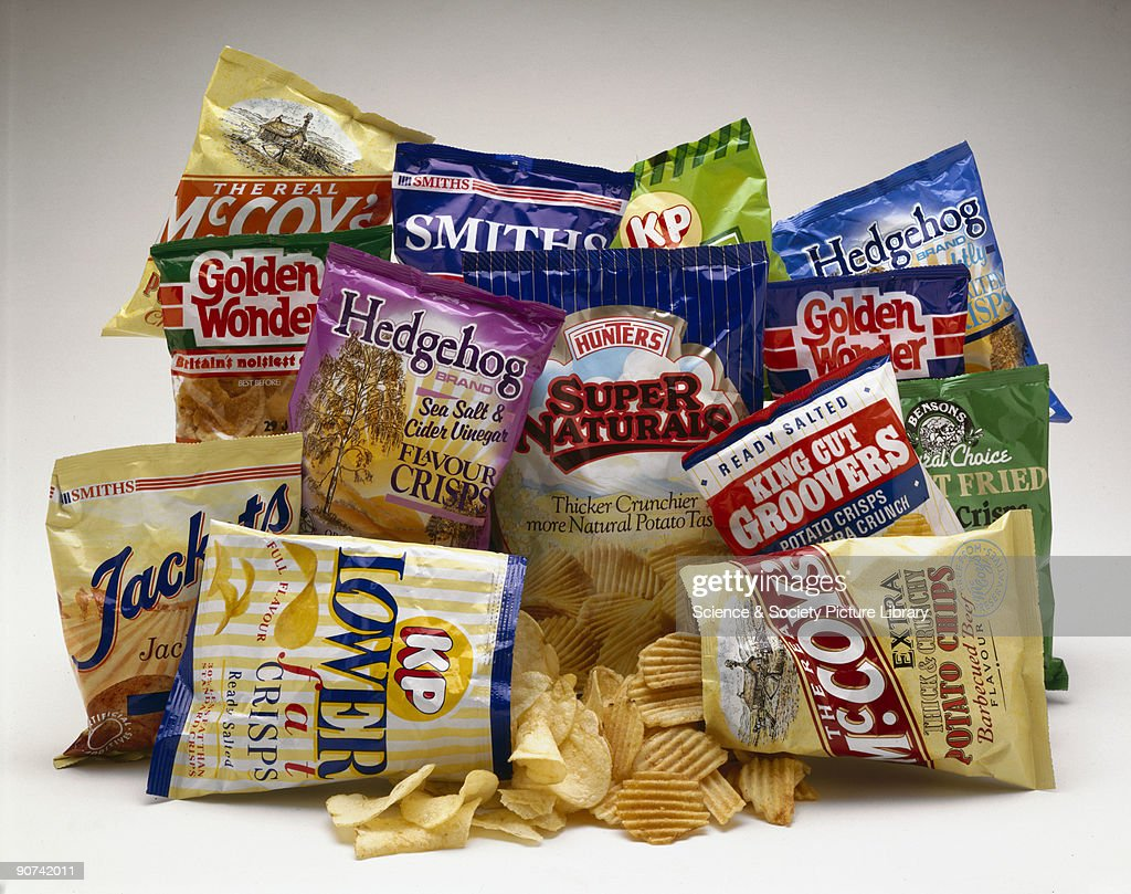 Selection of crisp packets, 1990s. : News Photo