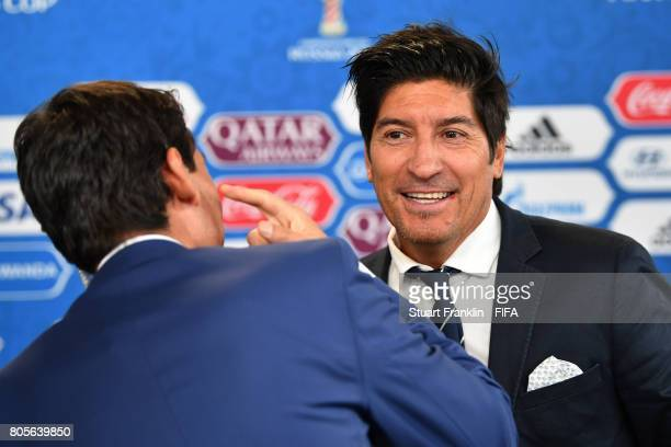 FIFA legend Ivan Zamorano of Chile is interviewed prior to the FIFA Confederations Cup Russia 2017 Final between Chile and Germany at Saint...