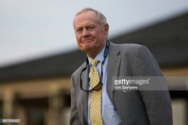 PGA legend Jack Nicklaus watching the ending of the Memorial Tournament Final Round on June 4 2017 at Muirfield Village Golf Club in Dublin Ohio