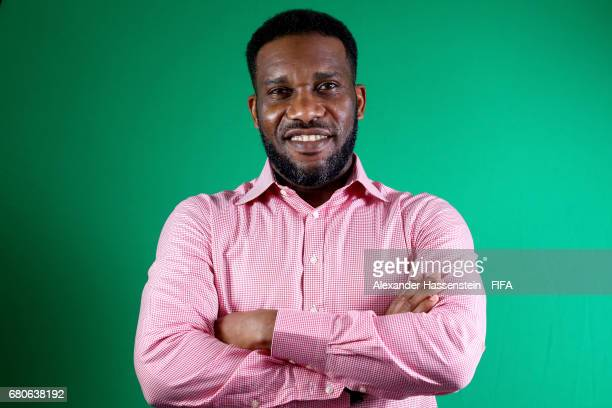 Legend Jay-Jay Okocha of Nigeria poses after a interview at The Diplomat Radisson BLU Hotel on May 9, 2017 in Manama, Bahrain.