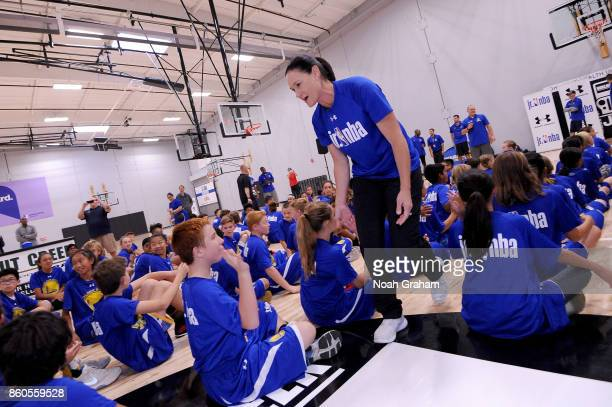 Legend Jennifer Azzi participates in a Jr NBA clinic and Parent Forum focused on positive coaching at the Ultimate Fieldhouse in Walnut Creek...
