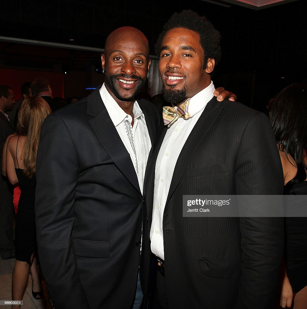 Legend Jerry Rice and NFL Player Dhani Jones attend the 7th Annual ESPN The Magazine Pre-Draft Party at Espace on April 21, 2010 in New York City.