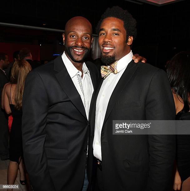 Legend Jerry Rice and NFL Player Dhani Jones attend the 7th Annual ESPN The Magazine PreDraft Party at Espace on April 21 2010 in New York City