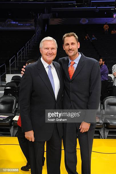 NBA Legend Jerry West and former NBA player Brent Barry pose for a photo prior to Game One of the 2010 NBA Finals between the Boston Celtics and the...