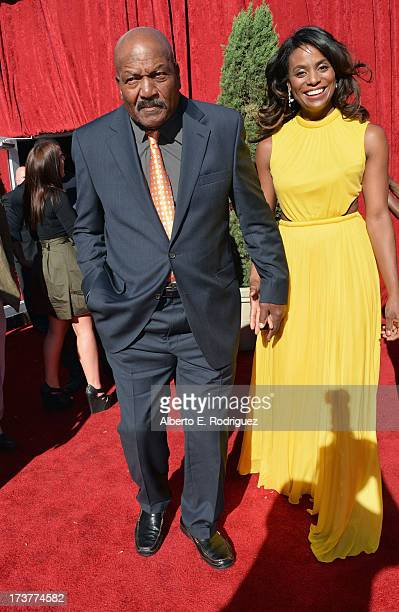 Legend Jim Brown and wife Monique Brown attend The 2013 ESPY Awards at Nokia Theatre L.A. Live on July 17, 2013 in Los Angeles, California.