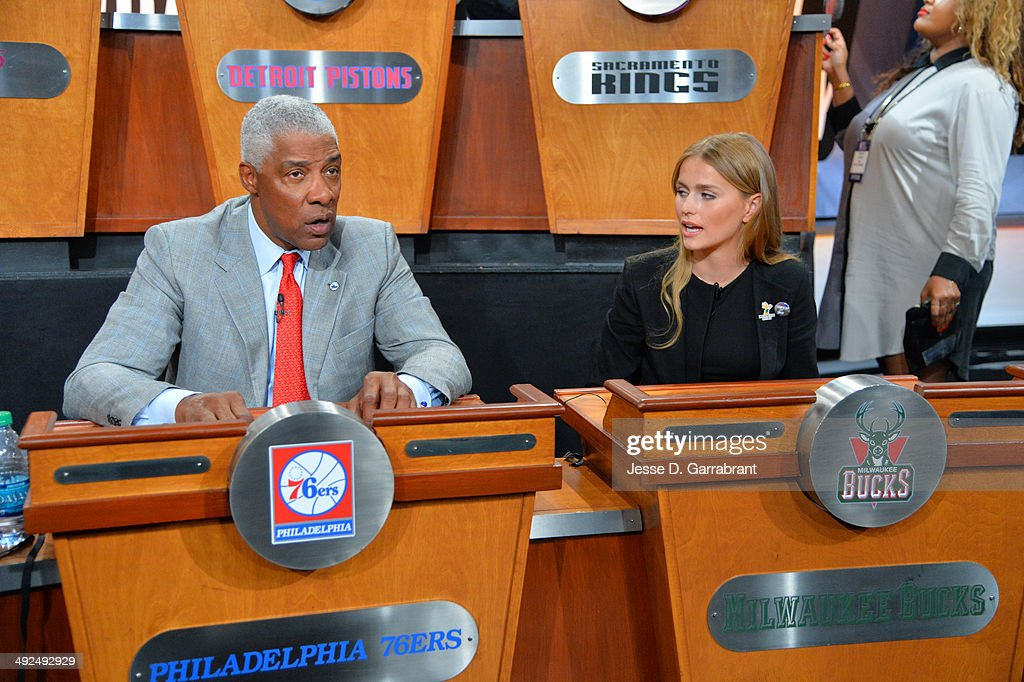 NBA Legend Julius Erving and Mallory Edens of the Milwaukee Bucks chats during the 2014 NBA Draft Lottery on May 20, 2014 at the ABC News' 'Good Morning America' Times Square Studio in New York City.