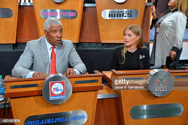 Legend Julius Erving and Mallory Edens of the Milwaukee Bucks chats during the 2014 NBA Draft Lottery on May 20 2014 at the ABC News' 'Good Morning...