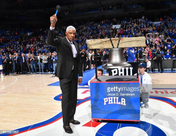 Legend Julius Erving of the Philadelphia 76ers rings the liberty bell prior to the game against the Brooklyn Nets at Wells Fargo Center on April 3...