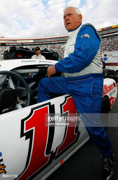 NASCAR legend Junior Johnson looks on prior to the NASCAR Legends UARA Race at Bristol Motor Speedway on March 21 2009 in Bristol Tennessee